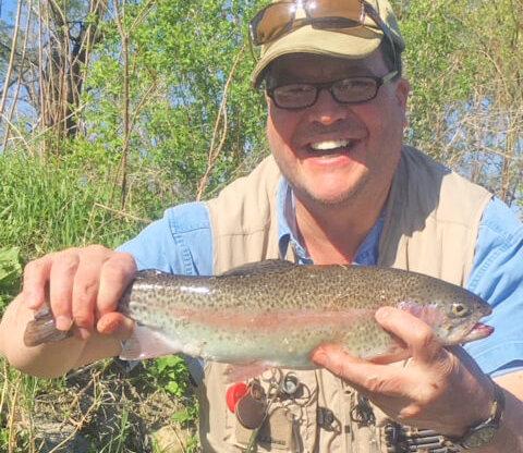 Bradlye Carleton with a nice Winooski River Rainbow Trout. Photo contributed