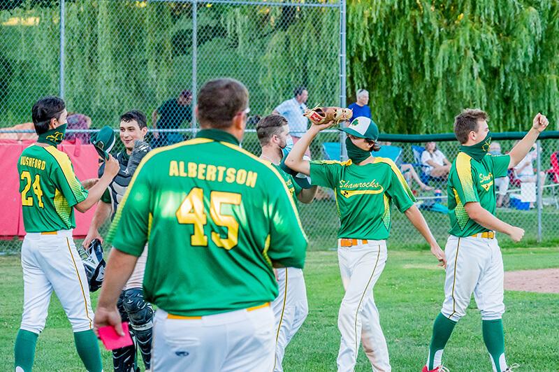 Storm Rushford and teammates celebrate Ireland's Summer Baseball League victory. Photo by Al Frey