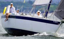 Spirit, from Diamond Island Yacht Club and sailed by Steve Koch, was the top finisher in Jib & Main A Class in the Diamond Island Regatta on Aug. 14. — Photo by Joe Gannon