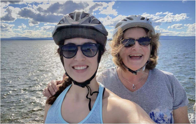 Right: Wendy bikes with her daughter, Katie, on the Burlington Bike Path. Photos contributed