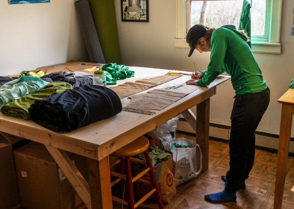 Caroline Patten works in her cutting room. Photo by Sun Dog Creations